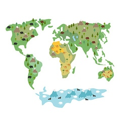 Map of world with animals and trees Geographic map vector