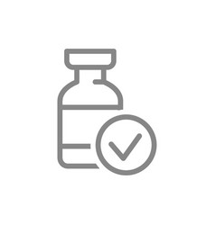 Medical ampoule and check mark line icon vector