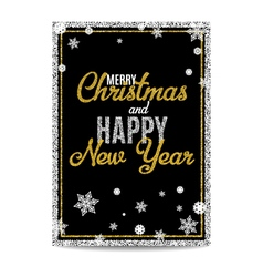 Merry Christmas greeting card golden text and vector image