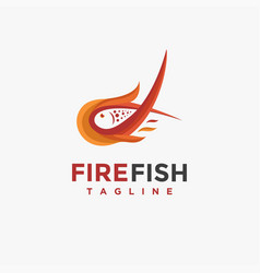 Modern fire fish logo icon template vector