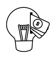 Money bulb light idea creativity line vector