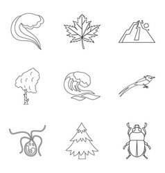 native icons set outline style vector image
