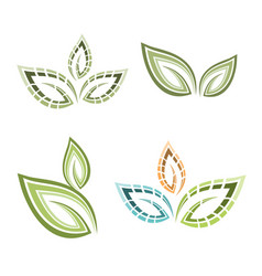 Natural logo leaf set vector