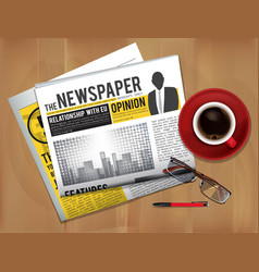 newspaper with coffee cup magazine or newspaper vector image