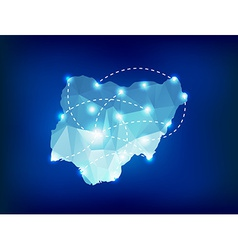 Nigeria country map polygonal with spot lights vector image