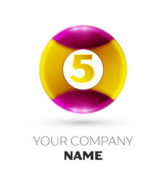 number five logo symbol in colorful circle vector image