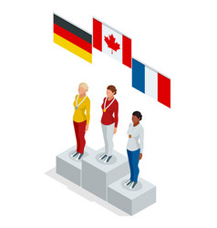 Olympic podium stand isometric sports woman winner vector