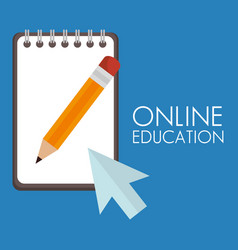 On line education with notebook vector