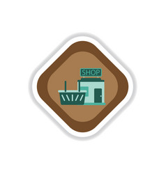 paper sticker on white background shop basket vector image