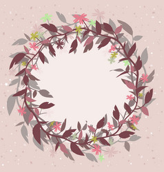pink background with a round floral frame in the vector image