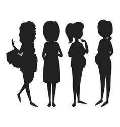 Pregnancy motherhood people expectation black vector