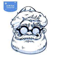 santa claus face cartoon character christmas vector image