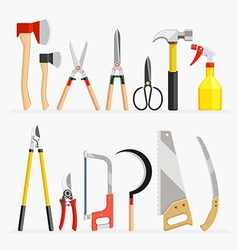 Set of craftsman and gardener tools items vector