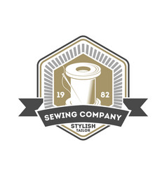 Sewing company isolated retro label vector