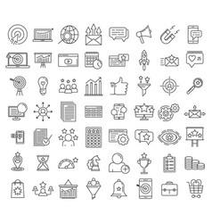 Smm icons set outline style vector