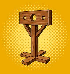 stocks medieval instrument torture pop art vector image