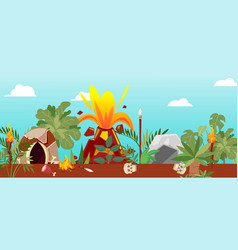 tribal cave life near cartoon volcano vector image