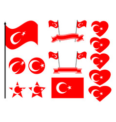 Turkey flag set collection symbols flag vector