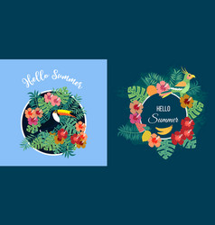 two summer cards with tropical birds on floral vector image