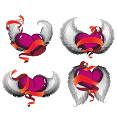 Valentine hearts with wings and ribbons vector