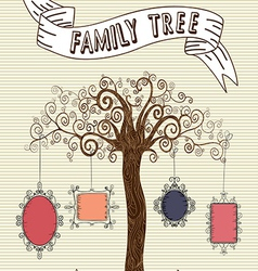 Vintage frames tree sketch vector image