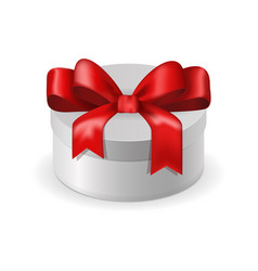 white box with red ribbon bow vector image