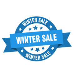 winter sale ribbon winter sale round blue sign vector image