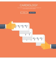 with cardiogramm Flat health vector image