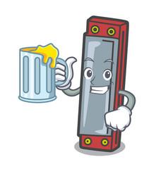 With juice harmonica mascot cartoon style vector