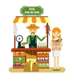 woman buys fresh vegetables vector image