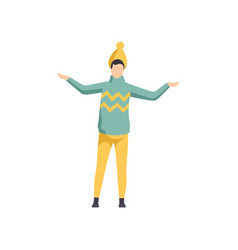 young man wearing a knitted sweater and hat guy vector image
