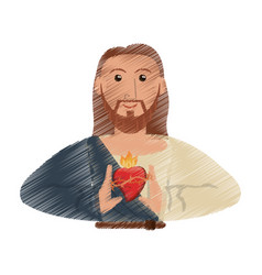 drawing jesus christ sac heart design vector image vector image