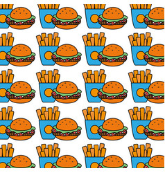 hamburger and fries french food background icon vector image vector image