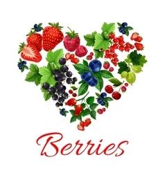 I love berries heart shape emblem vector image vector image
