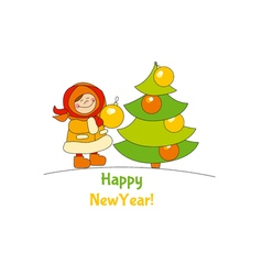Little girl with christmas tree Adorable kids in vector image