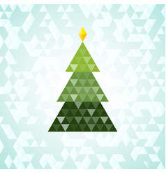 merry christmas green tree triangular pattern vector image vector image