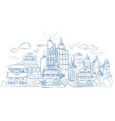 city landscape with modern buildings pencil sketch vector image vector image