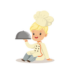 cute little boy holding a silver cloche food vector image vector image