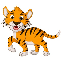 funny tiger cartoon walking vector image vector image