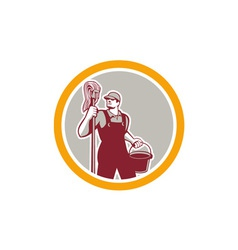 Janitor Holding Mop and Bucket Circle Retro vector image vector image