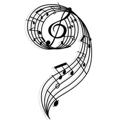 Musical curly elements with clef and notes vector image vector image