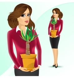business woman holding yucca plant vector image vector image