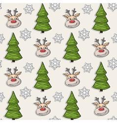 Christmas pattern with deer tree snowflakes vector image
