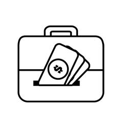 money briefcase document business line vector image
