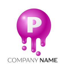 P letter splash logo purple dots and bubbles vector