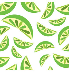 seamless background with green lime slices tile vector image