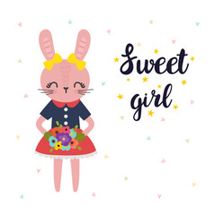 sweet girl cute little bunny with flowers vector image