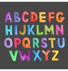 Watercolor colorful handwritten alphabet vector image