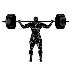 Weightlifter with barbell vector