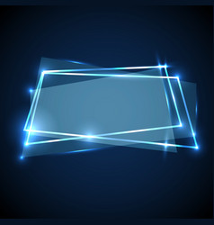abstract background with blue neon banner vector image vector image